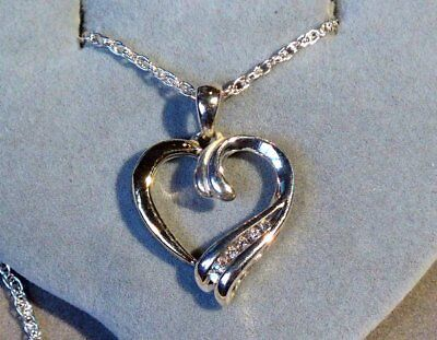 NATURAL DIAMOND 14K GOLD and STERLING HEART PENDANT NECKLACE - 6 DIA - .20ct TDW