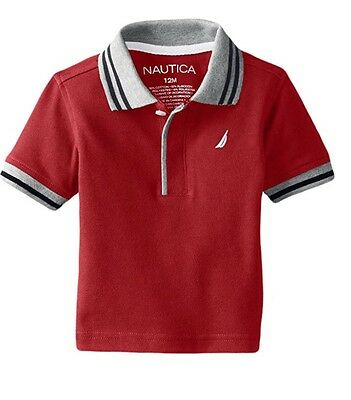 Nautica Baby Boys' Short Sleeve Solid Pique Tipped Collar Polo