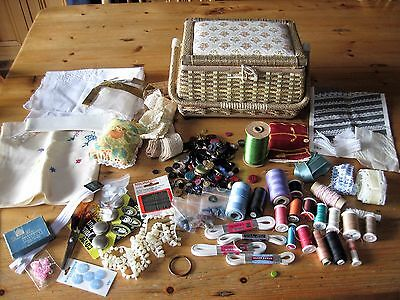 Job lot of sewing items in vintage sewing basket