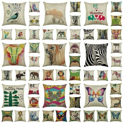 Linen Cotton Elephant Sofa Throw Pillow Cases Office Cushion Cover Party Decor