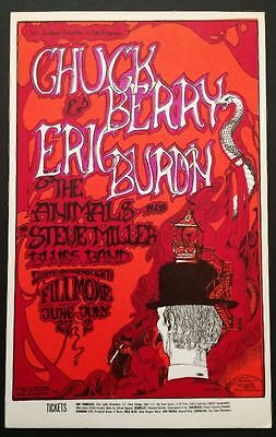 Fillmore West Postcard, Chuck Berry, Eric Burdon and the Animals,1967 EX/NM-