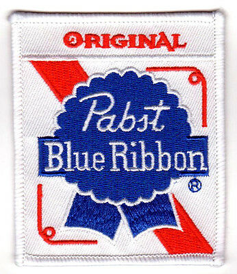 PABST BLUE RIBBON BEER PBR EMBROIDERED IRON ON PATCH hipster greaser biker vest