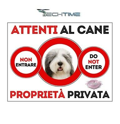 Cartello Bearder Collie Attenti Al Cane In Ferro Zincato Con Calamite
