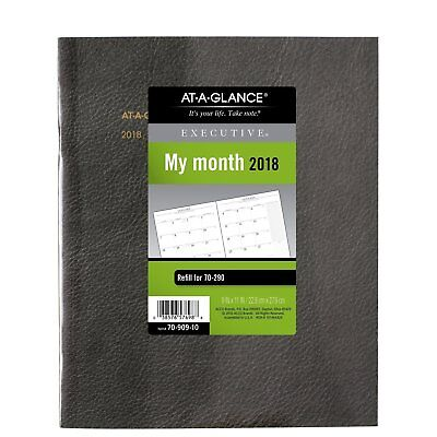 """Monthly Planner Refill for Executive Monthly Padfolio Jan 2018-Jan 2019 9"""" x 11"""""""