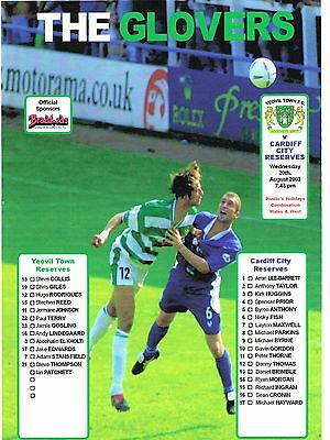 Yeovil Town v Cardiff City 03/4 Combination s/s