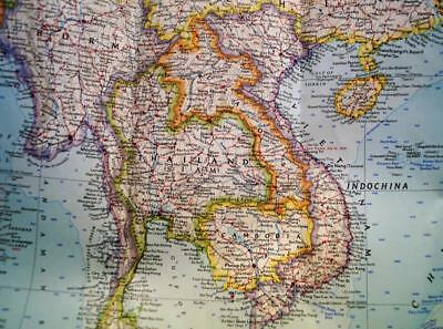 National Geographic Society Map Of Southeast Asia 1961 Vintage Vietnam Hong Kong
