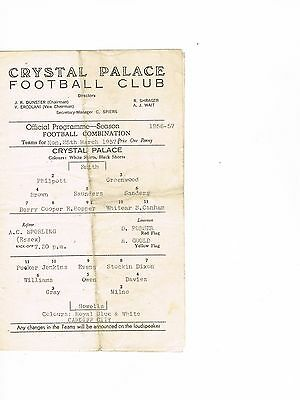 Crystal Palace Reserves v Cardiff City Reserves 56/7