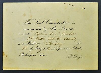 Invite to Buckingham Palace Ball to Capt. Rooke Scots Fusilier Guards 1856