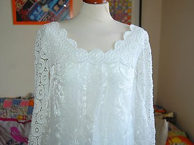 Vtg 60s Boho Beautiful Crochet Praire Embroidery Floaty Iridescent Wedding Dress