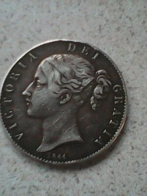 1844 Queen Victoria sterling silver crown - five shilling  coin. Circulated.