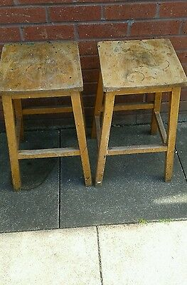 2 Wooden School Chemistry Stools Vintage Lab Stools College Science/art Chairs