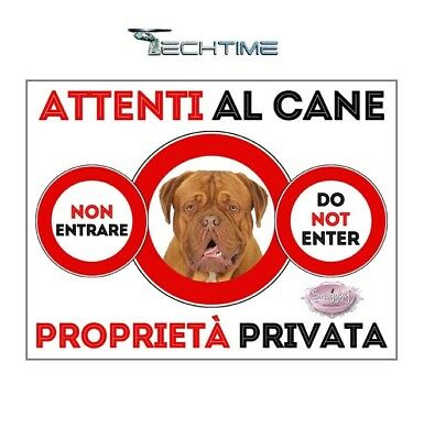 Cartello Dogue De Bordeaux Attenti Al Cane In Ferro Zincato Con Calamite