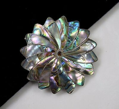 Vintage Sterling Silver 925. MEXICO Inlay Mother of Pearl Inlay Pin 13,6 g 2""