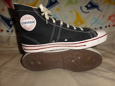 VINTAGE CONVERSE FAST BREAK II BLACK HIGH TOPS MADE IN USA SIZE 9.5 MENS 1970s