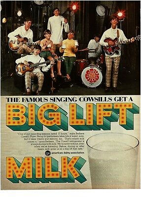 1969 AMERICAN DAIRY ASSOCiation Big Lift Milk THE COWSILLS Band  VTG PRINT AD