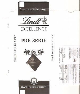 Rare Papier de tablette de chocolat Lindt Pre-Serie Chocolate cover