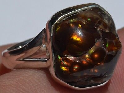 RAINBOW NATURAL FIRE AGATE 925 STERLING SILVER RING Sz 7.5 MEXICAN TAXCO JEWELRY