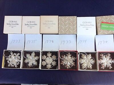 6 vintage Gorham Sterling Silver Snowflake ornaments with box and pouch