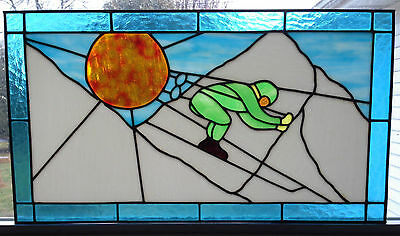 """Vtg Stained Glass Window 27x15"""" Skiing Winter Landscape Mountain Skier Downhill"""