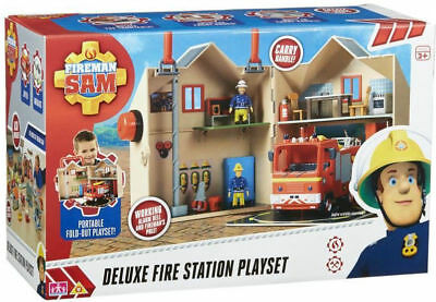 Fireman Sam Deluxe Fire Station Playset Folds Out With Working Bell! Age 3+ New