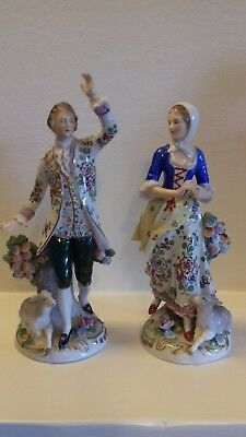 Sitzendorf Dresden Porcelain 18th Century Pair of Figurines