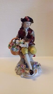 Sitzendorf Dresden Porcelain Figurine Seated Man with Flowers