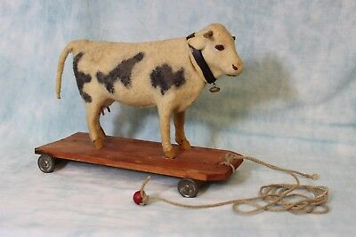 "8"" Tall 10"" long Antique pull toy Milk Cow Felt covered,turn her Head She Mo's"
