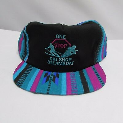 90s One Stop Ski Shop Steamboat Springs Co Hat Cap Bright Tribal Colors Pattern