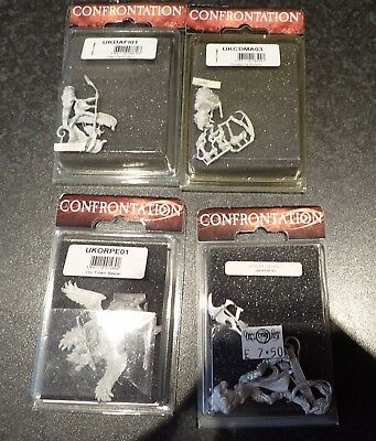 """4 BNIB 28mm scale """"Confrontation"""" figures complete with cards and rules"""