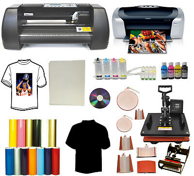 "13"" METAL 500g Vinyl Cutter Plotter,8in1 Combo Heat Press,Printer,CISS Ink PU"
