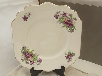 China Bread / Cake Plate  With A  Purple Violet Pattern  No Maker English Made
