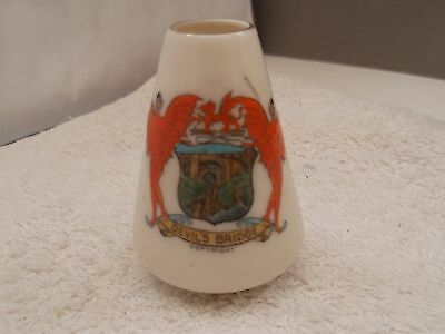 Vintage Model Of A Cone Shaped Vase Crested Devil's Bridge By Crown China