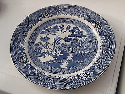 ? Vintage Blue And White Willow Pattern Dinner Plate  No Maker Seems Aged
