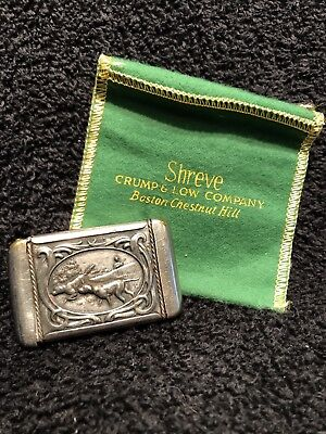 Shreve & Co. Silver Vintage Plated Match Safe Pointer & Pheasant Hunting Scenes