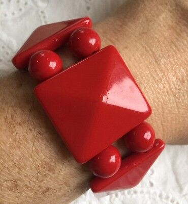 Vintage Cherry Red Chunky Lucite Stretch  Bracelet