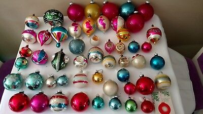 Lot of  51 Vintage Christmas Tree Ornaments Mercury Glass, Indents and More