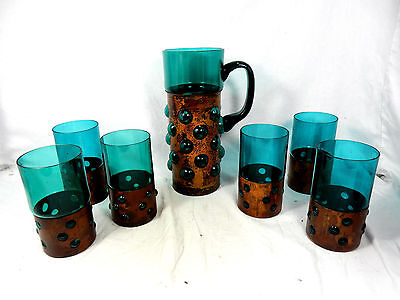 "70´s Pop Art ""bubble"" design Glas Karaffe & 6 Trinkgläser glass jug & 6 glasses"