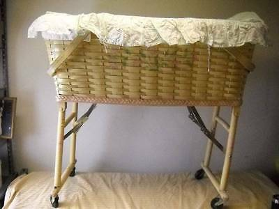 Antique Vintage Wicker Baby Cradle Bassinet Wheels Handles w/ Rattan Basket
