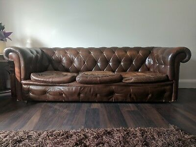 Chestnut Brown 1970s Chesterfield 3 seat / three seater Leather Buttoned sofa