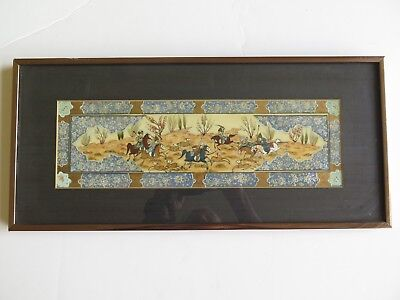 """Persian Painting On Bone Hunting Scene with Horses Professionally Framed 20"""" L"""