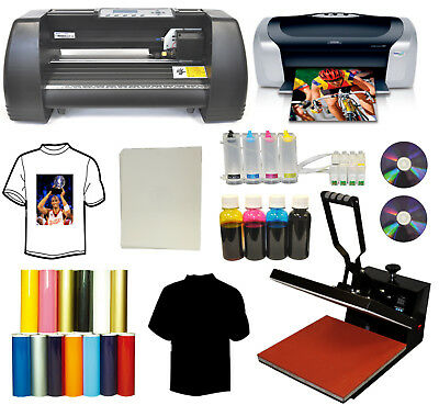 "15x15 Heat Press Printer CIS Ink 13"" Vinyl Cutter Plotter Cartridge Startup Pack"