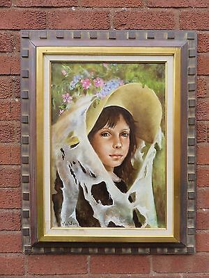Lovely French Large Original Nadi Ken Oil Painting On Canvas Girl With Bonnet