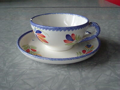 Quimper Hand Painted Broceliande Breakfast Cup and Saucer Plate