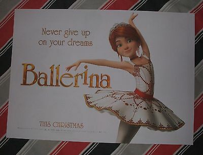 BALLERINA A3 POSTER Movie Cinema Film *NEW* Unfolded Disney Frozen Moana Shrek