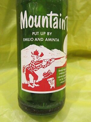 """Rare Mtn Dew Put Up By Emilio And Aminta """"with Mountain Water"""" 1964 Glass Bottle"""