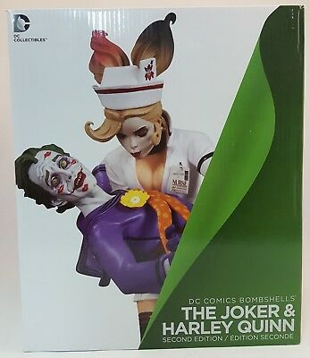 "DC Collectables DC Comics Bombshells THE JOKER & HARLEY QUINN 10"" Statue~2nd Ed~"