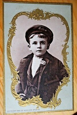 Woolson Spice Co. Victorian Trade Card Cute Boy In Navy Outfit