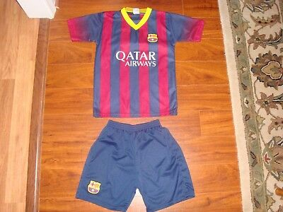 Fcb Qatar Airways Messi #10 Unicef Unisex Soccer Outfit Jersey Shorts Youth Sz L