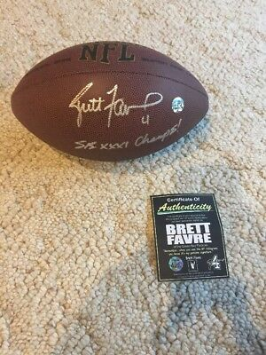 Brett Favre Rare And Inscribed Signed Autograph Football Ball Nfl Hof