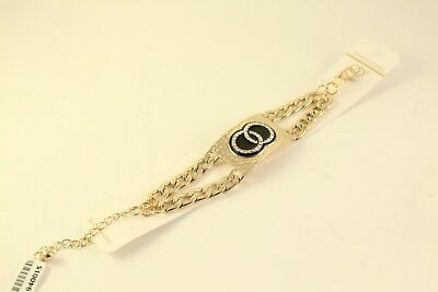 """Fashion Jewelry Double Loops Austrian Crystal ION Plated Goldtone 9"""" Bracelet"""